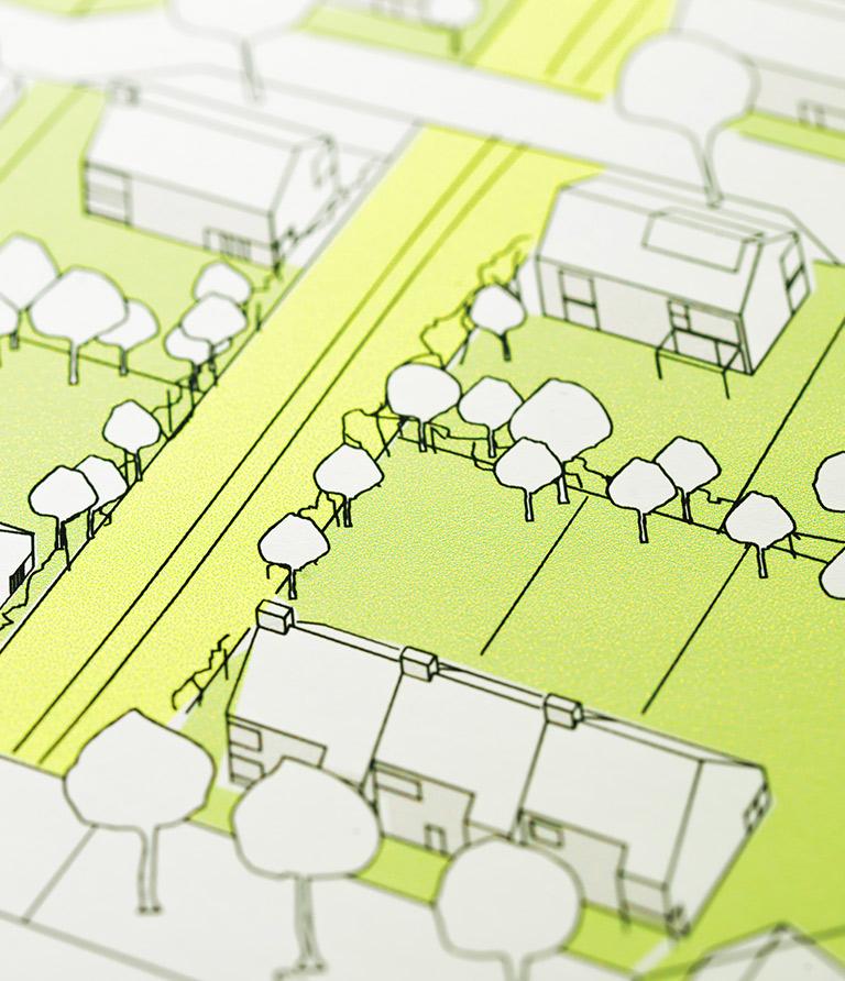 Eine Darstellung von Grundstücken und Bäumen.